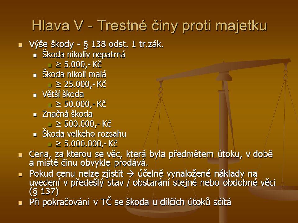 Hlava V - Trestné činy proti majetku Výše škody - § 138 odst.