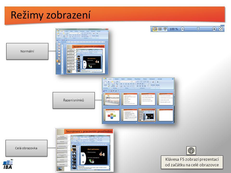 Seznámení s pracovním prostředím Ikona Office (dříve nabídka Soubor) Ikona Office (dříve nabídka Soubor) Panel Rychlý přístup Pásy karet Miniatury sní