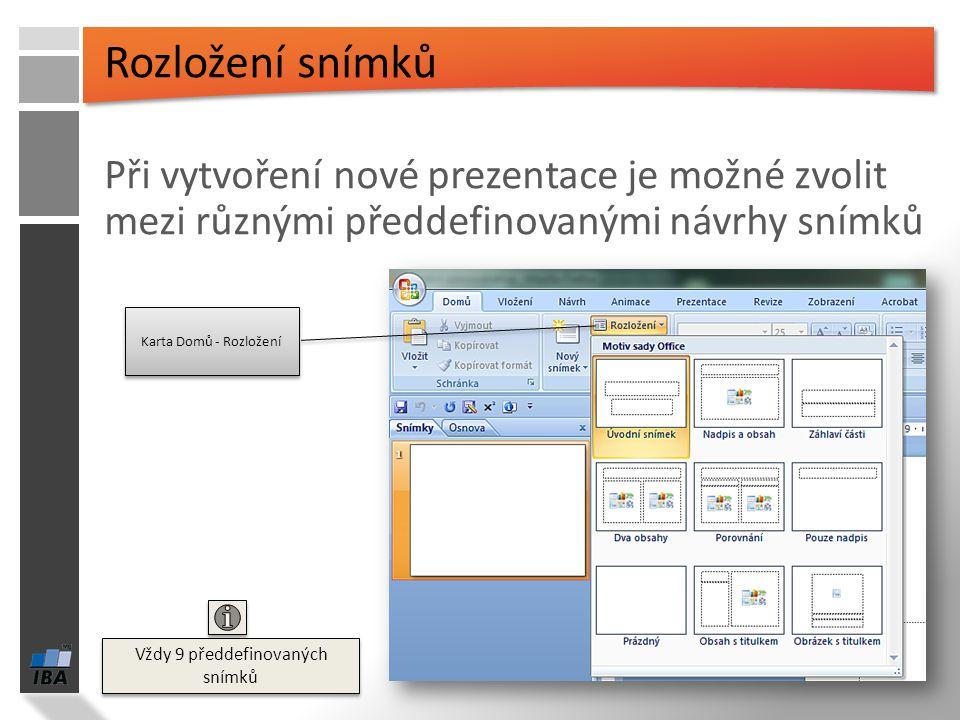 Prezentace se skládá z objektů na snímcích: Textové pole Obrázek Klipart – předdefinované obrázky Tvar Graf SmartArt – pro vizualizaci informací a růz