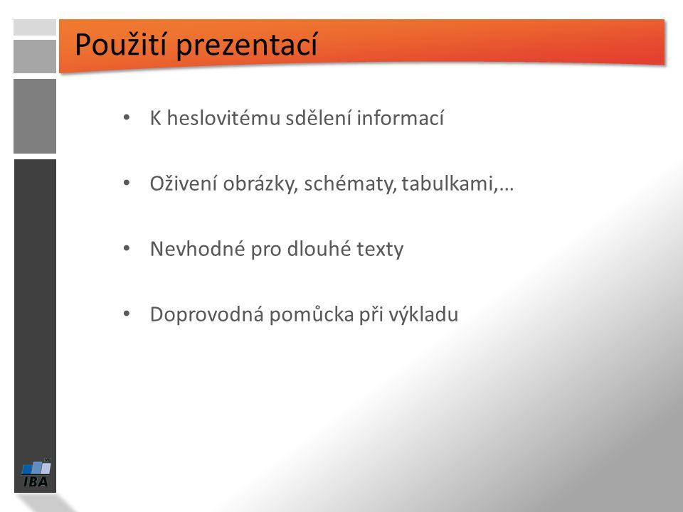 Koncept a použití prezentací Seznámení s pracovním prostředím MS Word 2007 Režimy zobrazení Užitečná nastavení Základní práce s dokumenty Práce s text