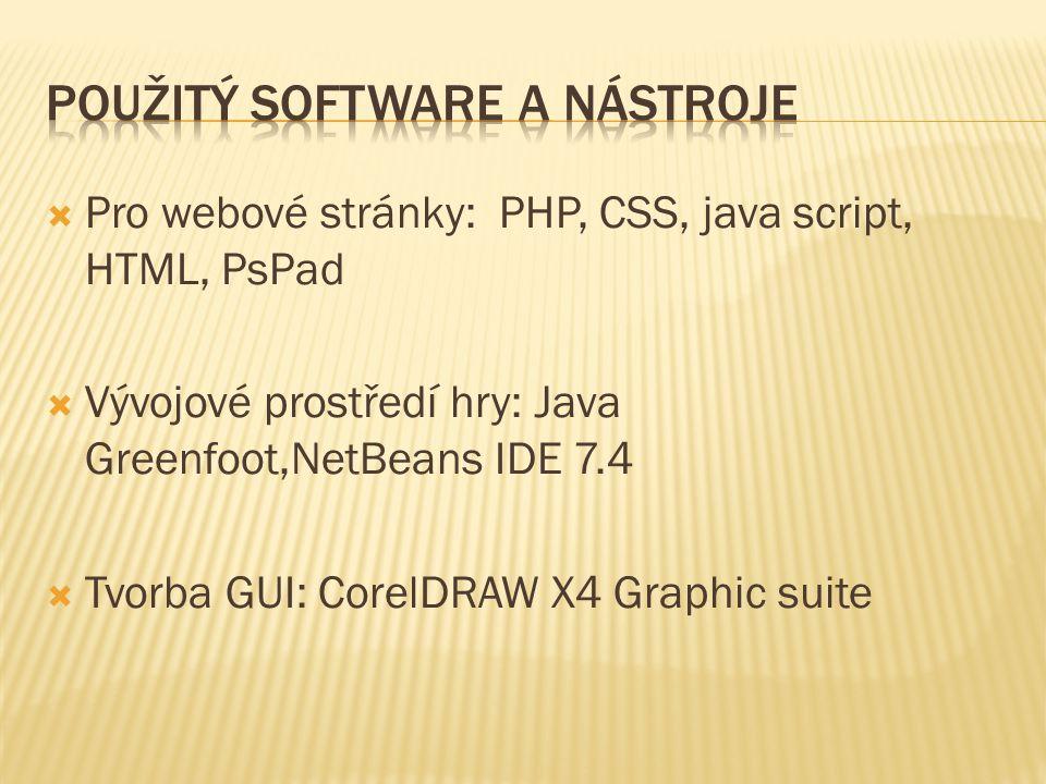  Pro webové stránky: PHP, CSS, java script, HTML, PsPad  Vývojové prostředí hry: Java Greenfoot,NetBeans IDE 7.4  Tvorba GUI: CorelDRAW X4 Graphic