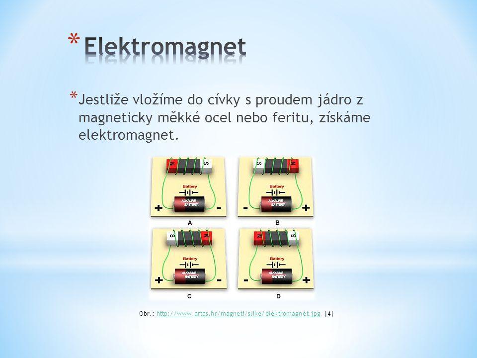 * Jestliže vložíme do cívky s proudem jádro z magneticky měkké ocel nebo feritu, získáme elektromagnet.