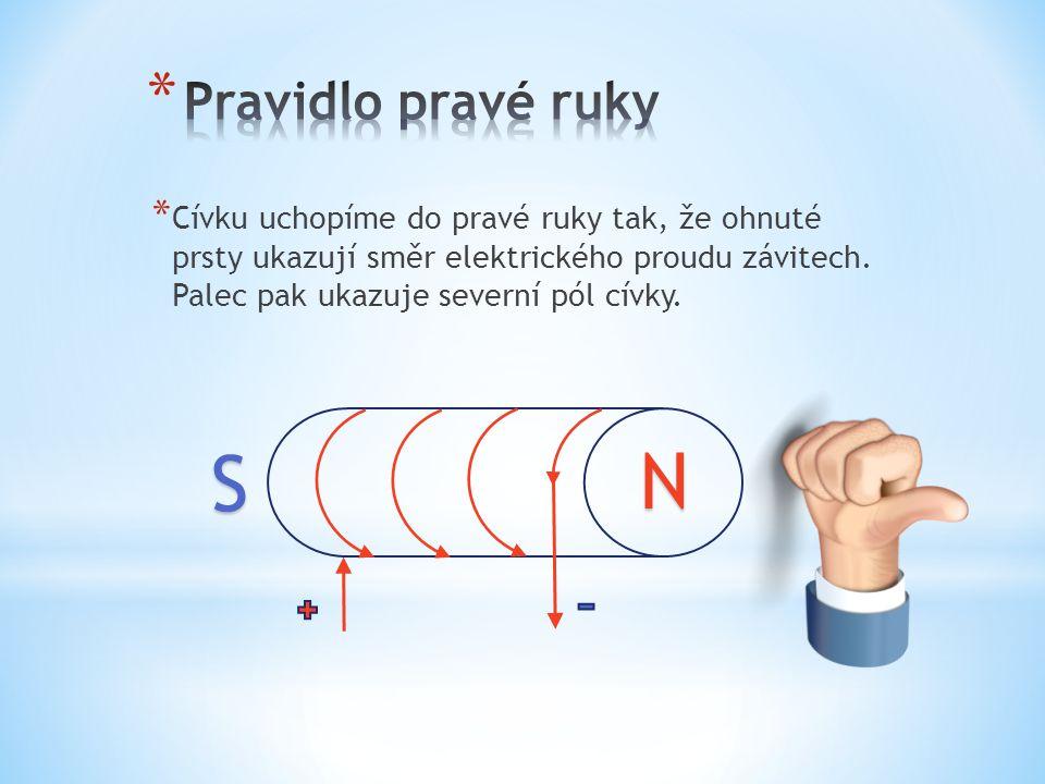 * Cívku uchopíme do pravé ruky tak, že ohnuté prsty ukazují směr elektrického proudu závitech.