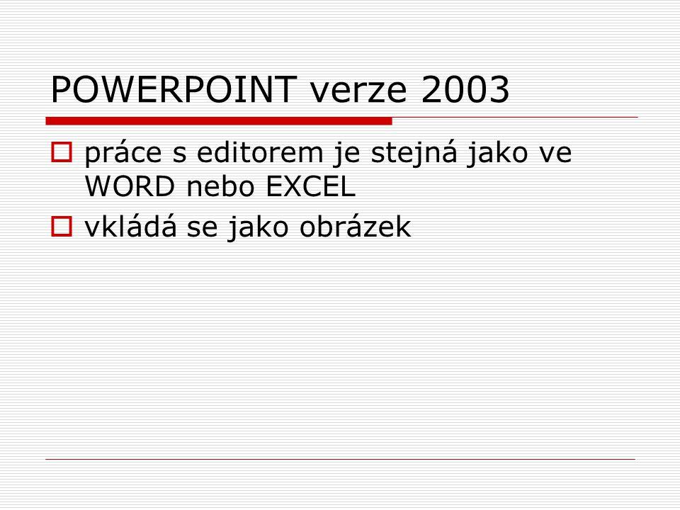  práce s editorem je stejná jako ve WORD nebo EXCEL  vkládá se jako obrázek POWERPOINT verze 2003