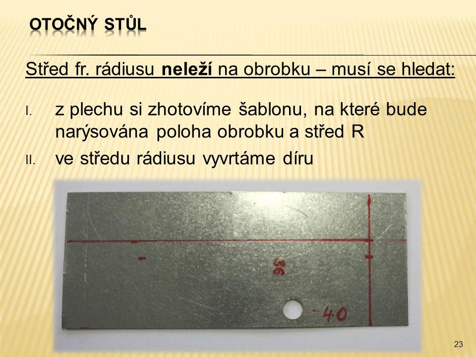Střed fr. rádiusu neleží na obrobku – musí se hledat: I. z plechu si zhotovíme šablonu, na které bude narýsována poloha obrobku a střed R II. ve střed