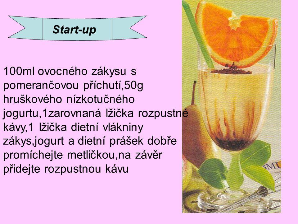 Start-up 100ml ovocného zákysu s pomerančovou příchutí,50g hruškového nízkotučného jogurtu,1zarovnaná lžička rozpustné kávy,1 lžička dietní vlákniny z