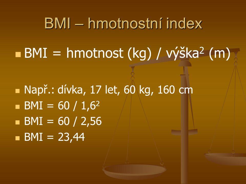 BMI – hmotnostní index BMI = hmotnost (kg) / výška 2 (m) Např.: dívka, 17 let, 60 kg, 160 cm BMI = 60 / 1,6 2 BMI = 60 / 2,56 BMI = 23,44