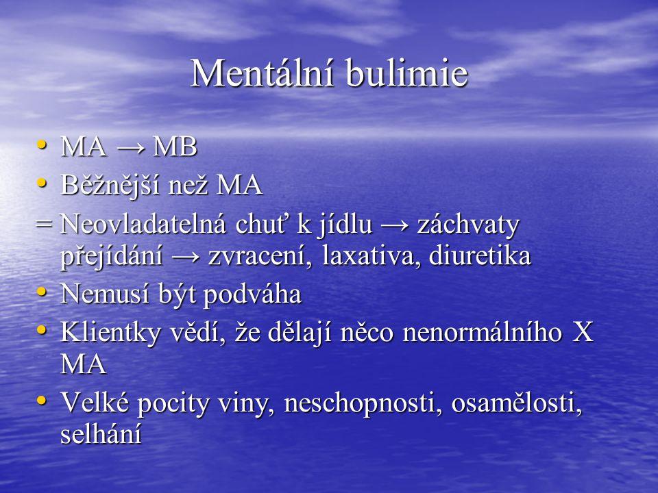 Mentální bulimie MA → MB MA → MB Běžnější než MA Běžnější než MA = Neovladatelná chuť k jídlu → záchvaty přejídání → zvracení, laxativa, diuretika Nem