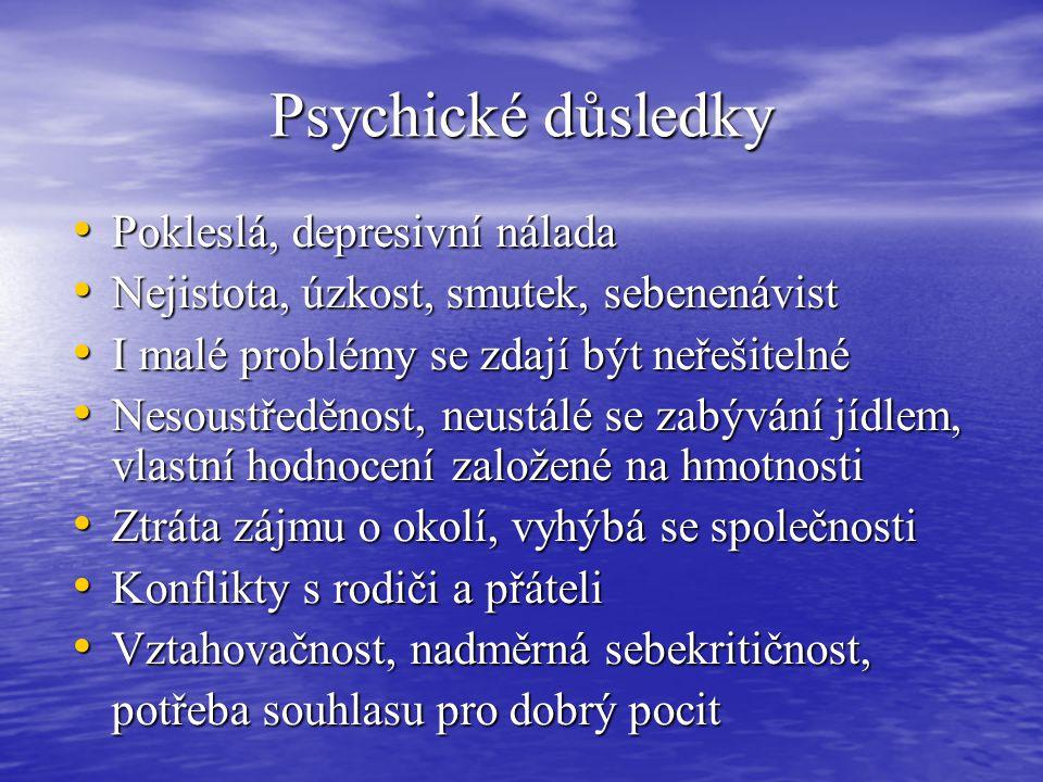 Psychické důsledky Pokleslá, depresivní nálada Pokleslá, depresivní nálada Nejistota, úzkost, smutek, sebenenávist Nejistota, úzkost, smutek, sebenená