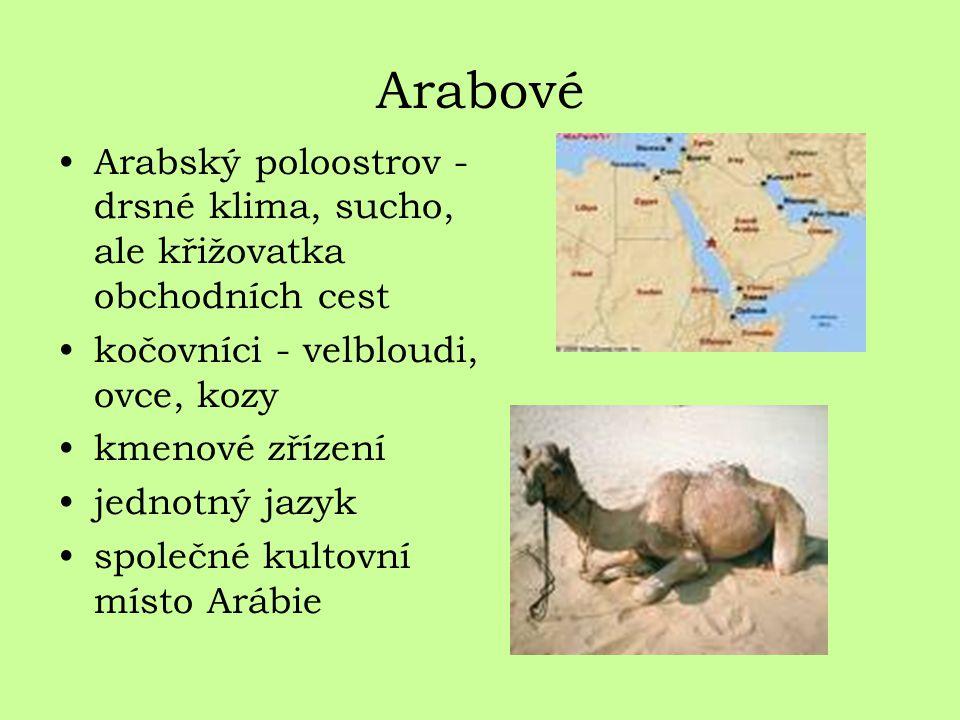 Arabové Arabský poloostrov - drsné klima, sucho, ale křižovatka obchodních cest kočovníci - velbloudi, ovce, kozy kmenové zřízení jednotný jazyk společné kultovní místo Arábie