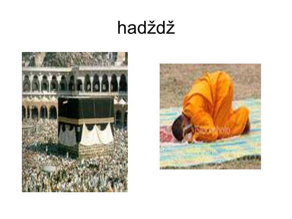 """Pět rituálních povinností víra v jednoho boha 5x denně modlitby almužna půst - měsíc ramadán 1x za život svatá pouť hadždž """"Není žádného boha kromě Al"""