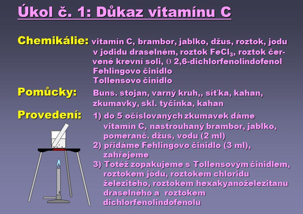 Úkol č. 1: Důkaz vitamínu C Chemikálie: vitamín C, brambor, jablko, džus, roztok, jodu v jodidu draselném, roztok FeCl 3, roztok čer- vené krevní soli