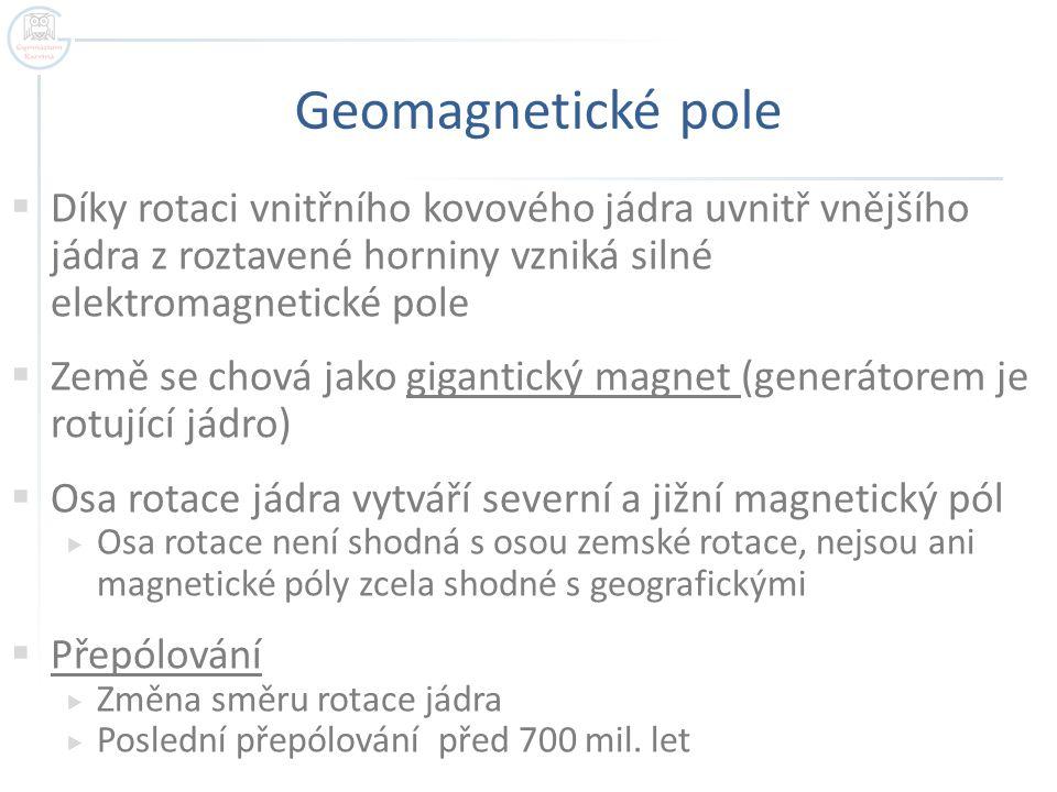 Geomagnetické pole  Díky rotaci vnitřního kovového jádra uvnitř vnějšího jádra z roztavené horniny vzniká silné elektromagnetické pole  Země se chov