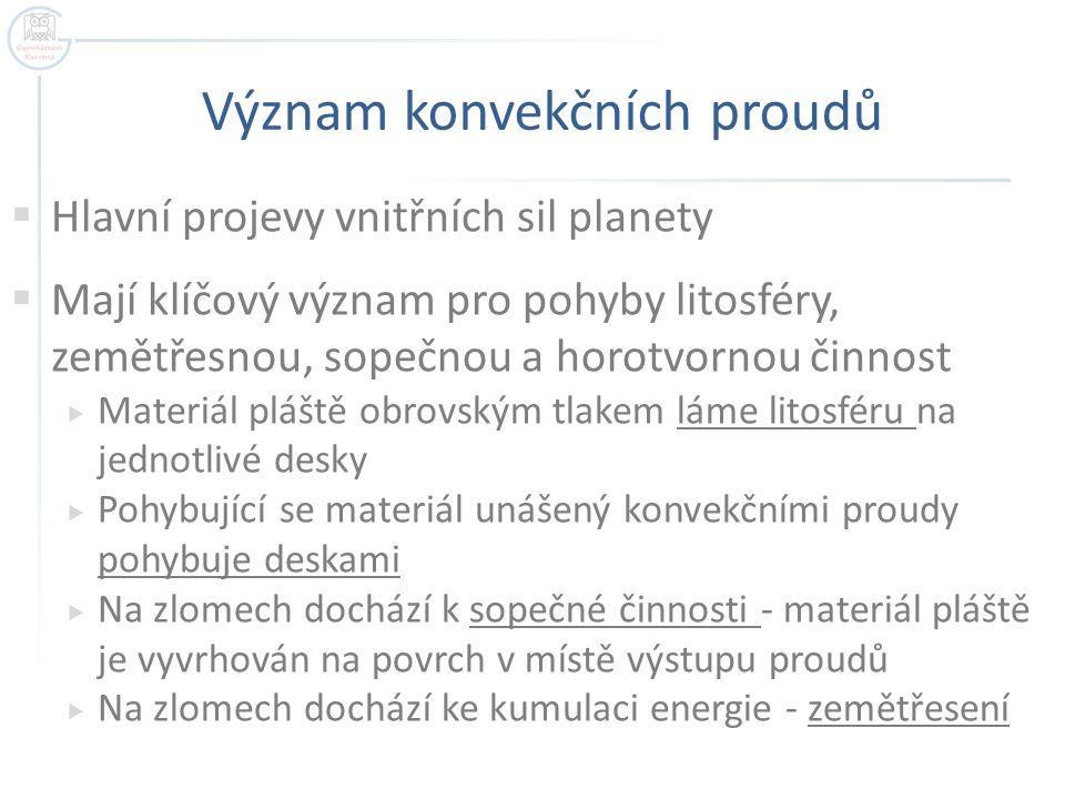 Význam konvekčních proudů  Hlavní projevy vnitřních sil planety  Mají klíčový význam pro pohyby litosféry, zemětřesnou, sopečnou a horotvornou činno