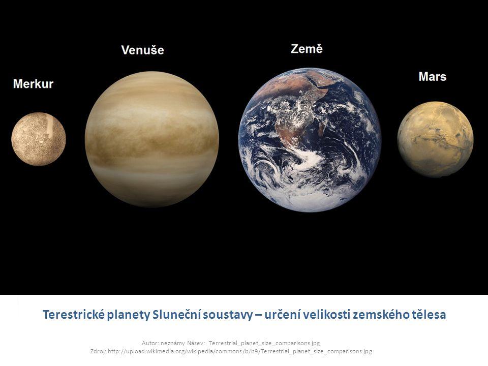 Terestrické planety Sluneční soustavy – určení velikosti zemského tělesa Autor: neznámy Název: Terrestrial_planet_size_comparisons.jpg Zdroj: http://u