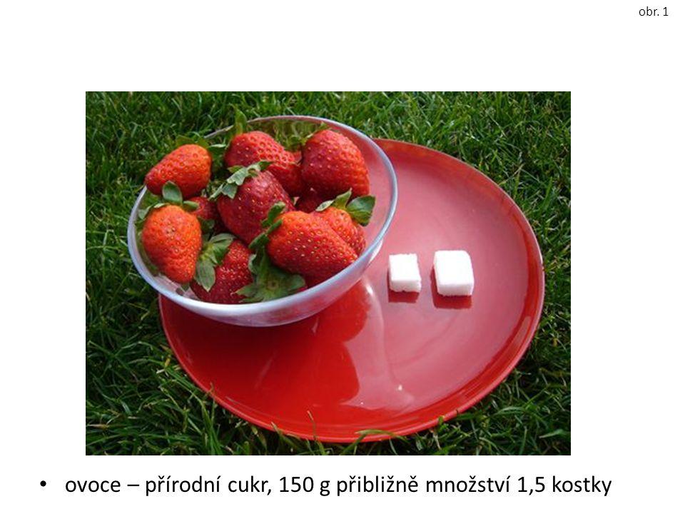 ovoce – přírodní cukr, 150 g přibližně množství 1,5 kostky obr. 1