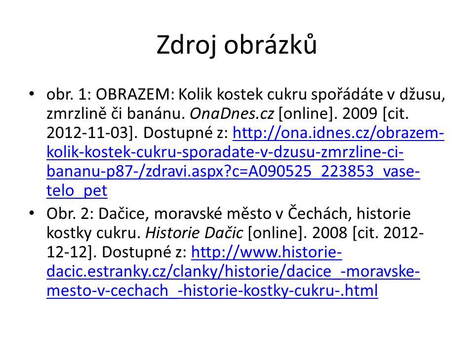 Zdroj obrázků obr. 1: OBRAZEM: Kolik kostek cukru spořádáte v džusu, zmrzlině či banánu. OnaDnes.cz [online]. 2009 [cit. 2012-11-03]. Dostupné z: http