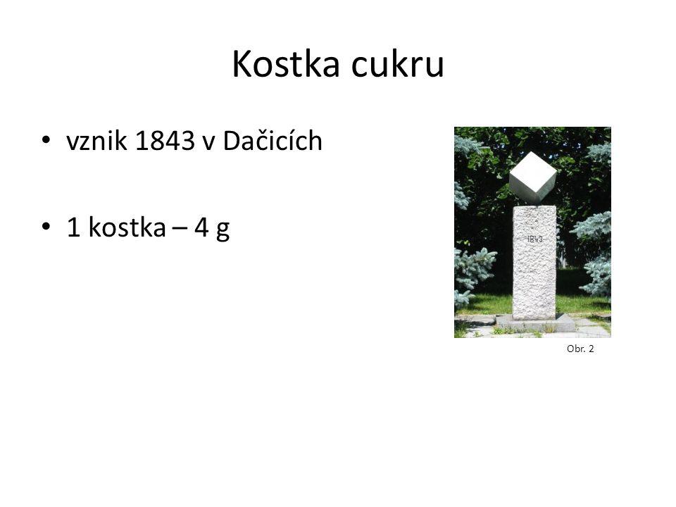 Kostka cukru vznik 1843 v Dačicích 1 kostka – 4 g Obr. 2