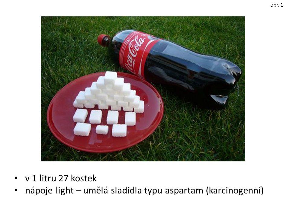 v 1 litru 27 kostek nápoje light – umělá sladidla typu aspartam (karcinogenní) obr. 1