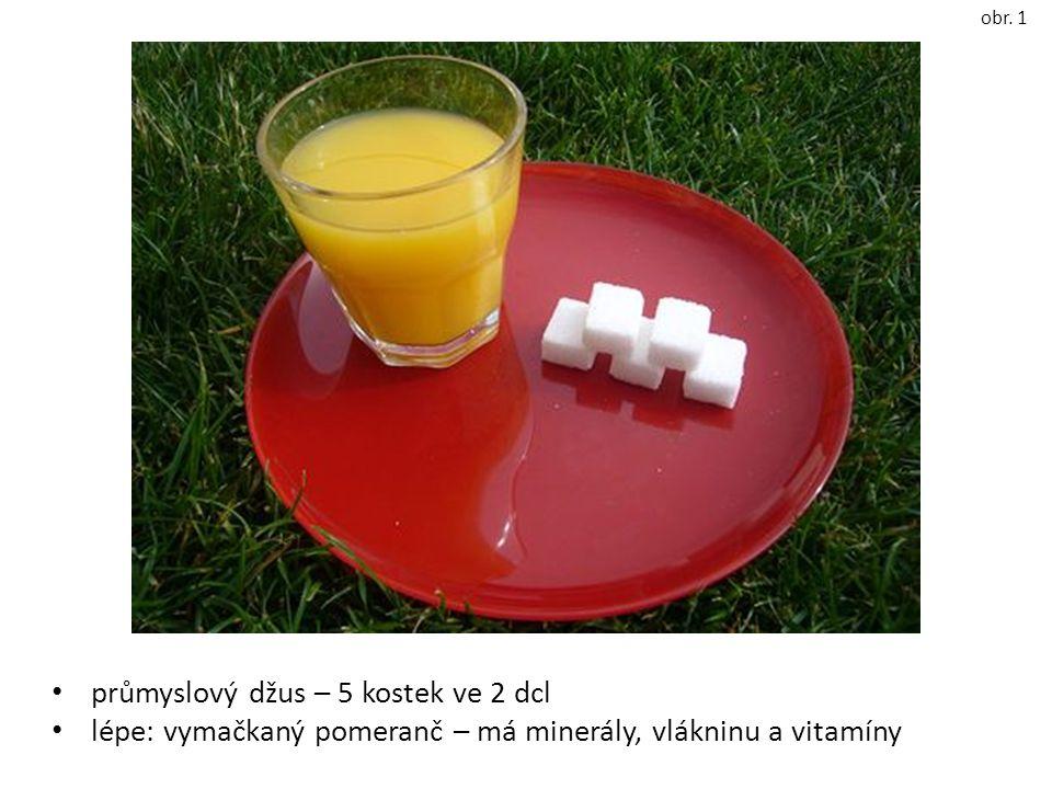 průmyslový džus – 5 kostek ve 2 dcl lépe: vymačkaný pomeranč – má minerály, vlákninu a vitamíny obr.