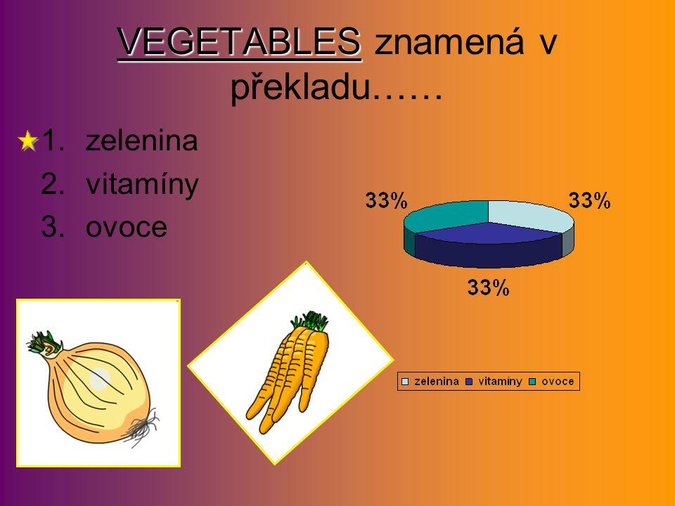 FRUIT FRUIT znamená v překladu… 1.zelenina 2.ovoce 3.vitamíny