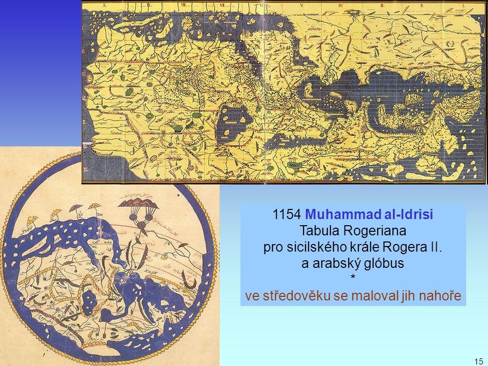 J. Bajer, UP Olomouc 201015 1154 Muhammad al-Idrisi Tabula Rogeriana pro sicilského krále Rogera II. a arabský glóbus * ve středověku se maloval jih n