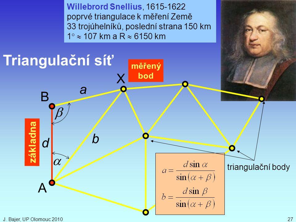 J. Bajer, UP Olomouc 201027 d   a b Triangulační síť A B triangulační body základna X Willebrord Snellius, 1615-1622 poprvé triangulace k měření Zem