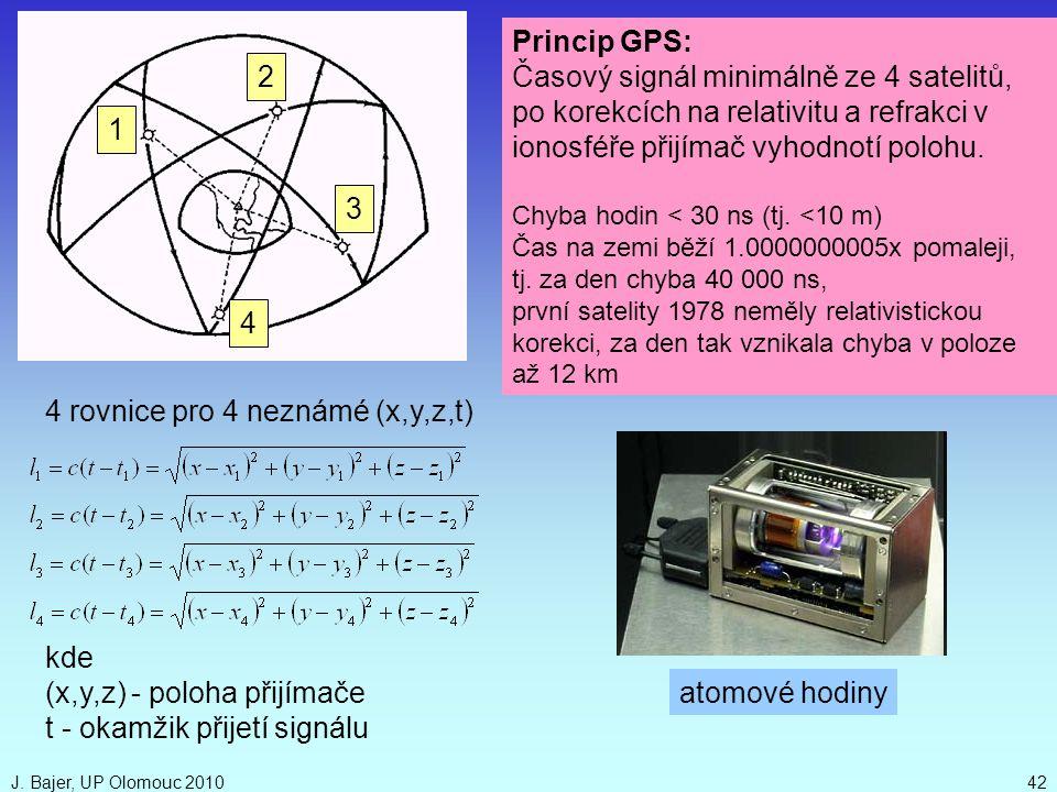 J. Bajer, UP Olomouc 201042 Princip GPS: Časový signál minimálně ze 4 satelitů, po korekcích na relativitu a refrakci v ionosféře přijímač vyhodnotí p