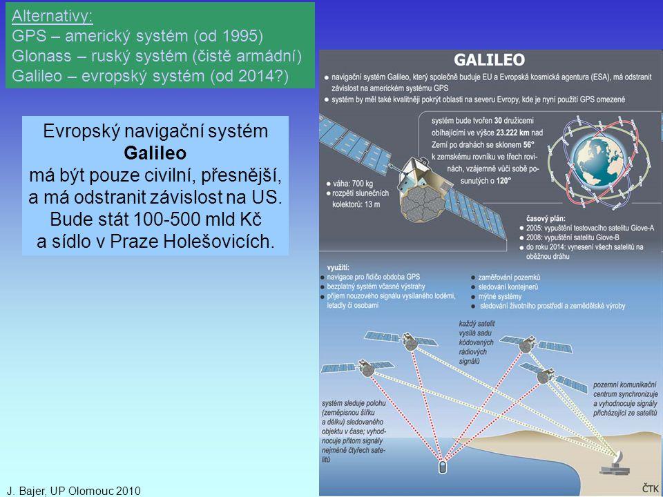 J. Bajer, UP Olomouc 201043 Evropský navigační systém Galileo má být pouze civilní, přesnější, a má odstranit závislost na US. Bude stát 100-500 mld K