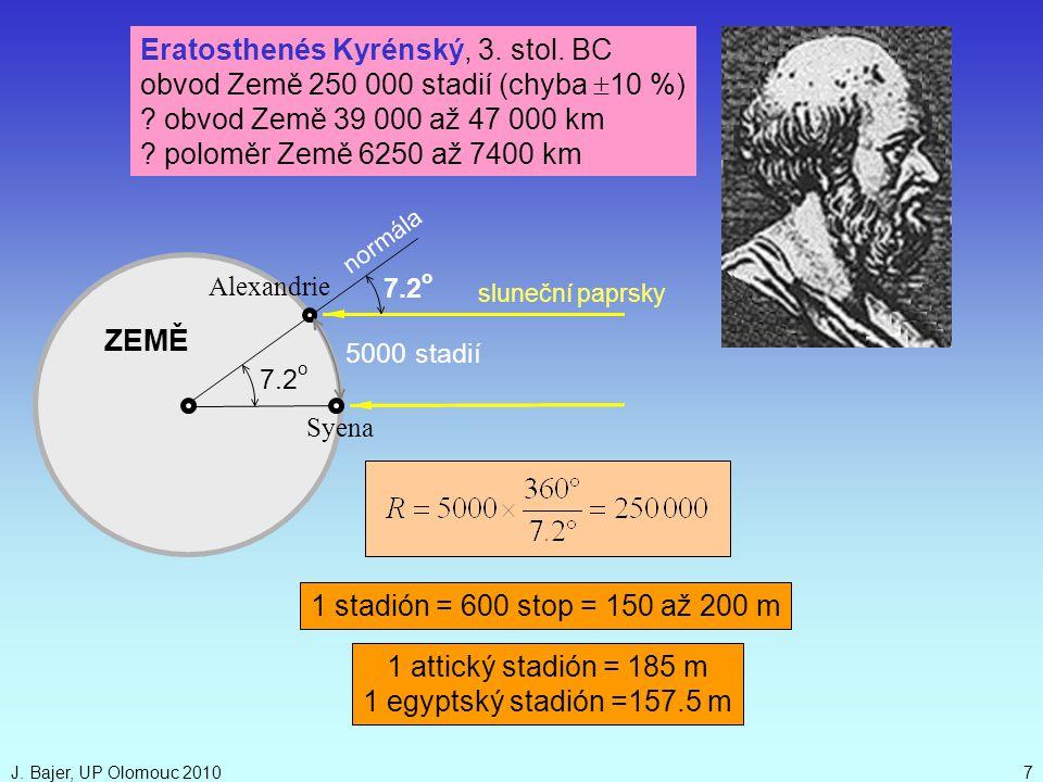 J. Bajer, UP Olomouc 20107 5000 stadií ZEMĚ sluneční paprsky 7.2 o normála Alexandrie Syena 7.2 o Eratosthenés Kyrénský, 3. stol. BC obvod Země 250 00