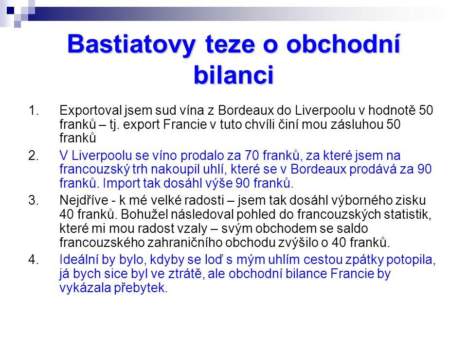 Bastiatovy teze o obchodní bilanci 1.Exportoval jsem sud vína z Bordeaux do Liverpoolu v hodnotě 50 franků – tj. export Francie v tuto chvíli činí mou