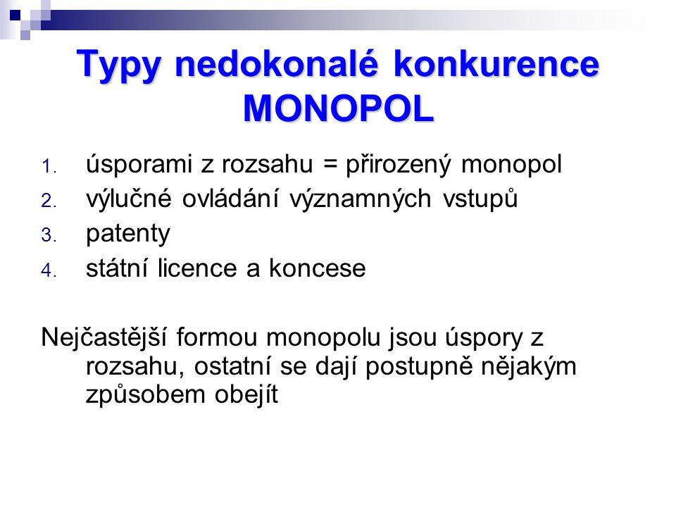 1. úsporami z rozsahu = přirozený monopol 2. výlučné ovládání významných vstupů 3. patenty 4. státní licence a koncese Nejčastější formou monopolu jso