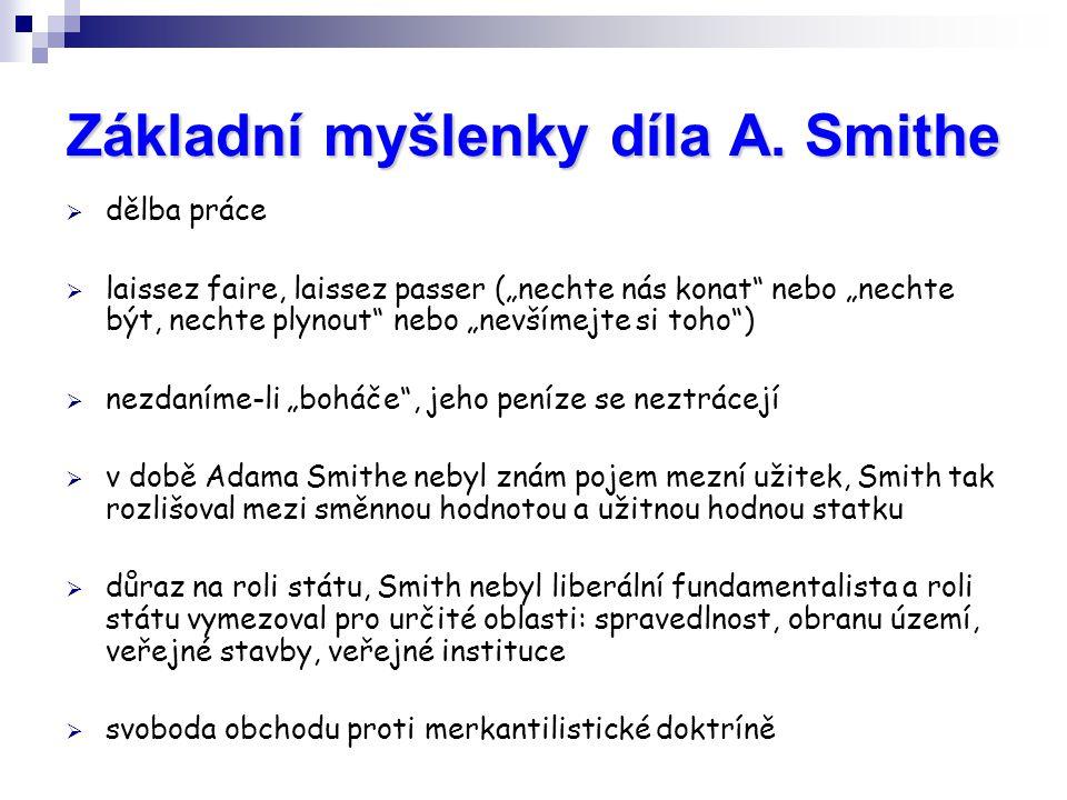 """Základní myšlenky díla A. Smithe  dělba práce  laissez faire, laissez passer (""""nechte nás konat"""" nebo """"nechte být, nechte plynout"""" nebo """"nevšímejte"""