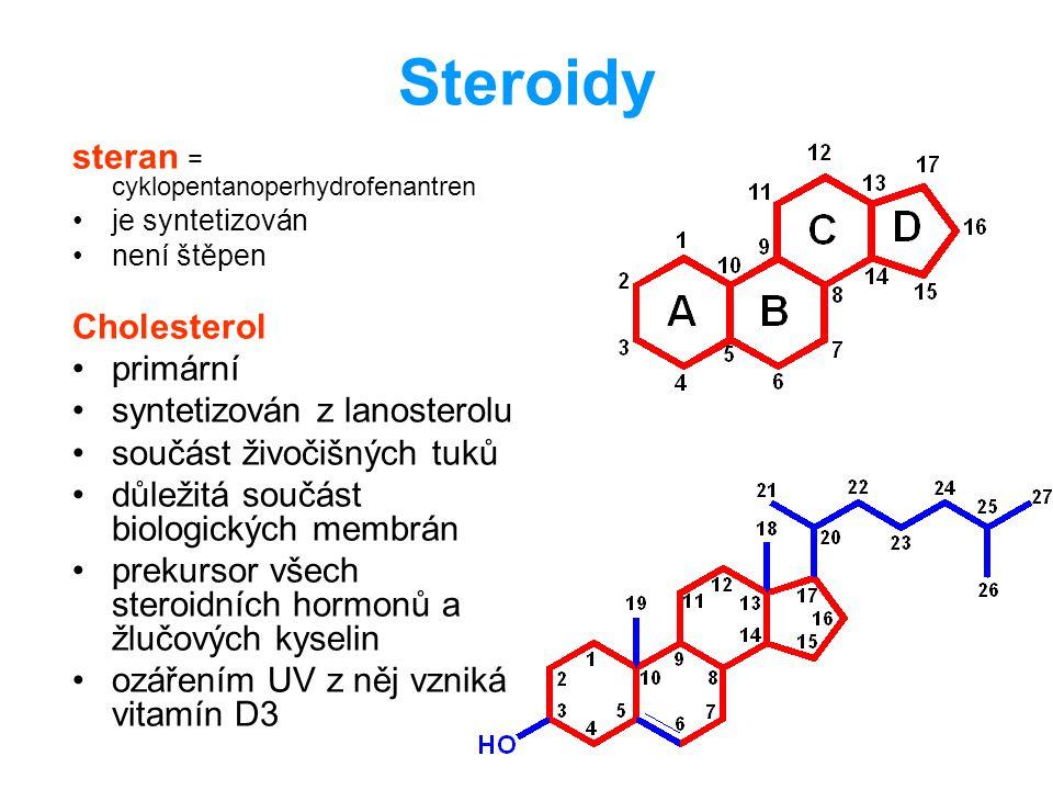 Steroidy steran = cyklopentanoperhydrofenantren je syntetizován není štěpen Cholesterol primární syntetizován z lanosterolu součást živočišných tuků d