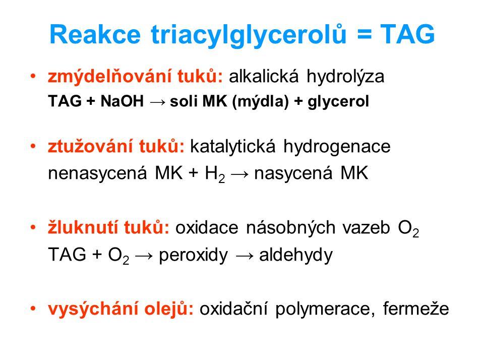Reakce triacylglycerolů = TAG zmýdelňování tuků: alkalická hydrolýza TAG + NaOH → soli MK (mýdla) + glycerol ztužování tuků: katalytická hydrogenace n
