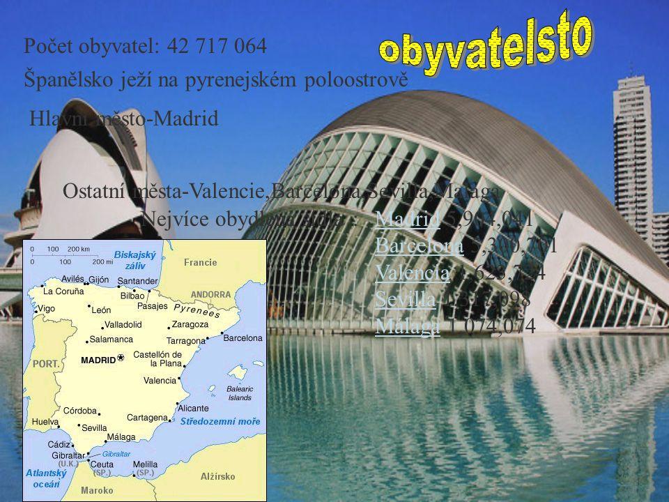Španělsko ježí na pyrenejském poloostrově Hlavní město-Madrid Ostatní města-Valencie,Barcelona,Sevilla,Malaga Nejvíce obydlená sídla:MadridMadrid 5,90