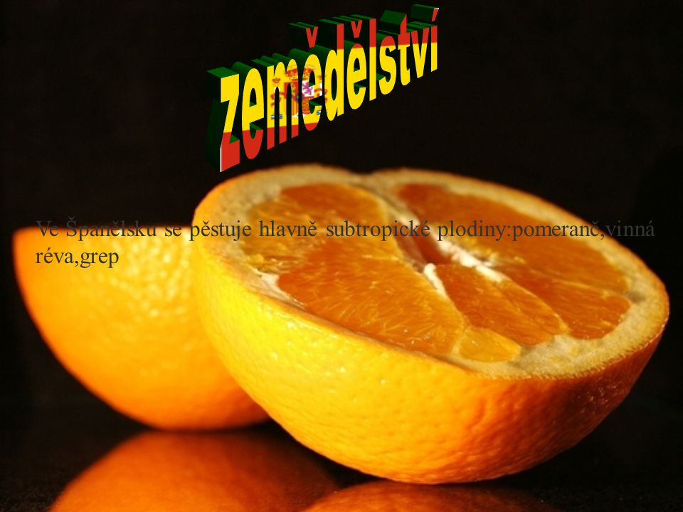 Ve Španělsku se pěstuje hlavně subtropické plodiny:pomeranč,vinná réva,grep