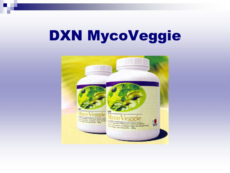 DXN Myco Veggie DXN MycoVeggie is a unique food supplement carefully prepared from the finest all-natural ingredients including vegetables, various mushrooms, spirulina, green tea, mulberry leaf, ginkgo leaf, noni leaf, fruits, herbs and a selection of spices.