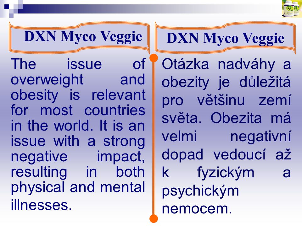 DXN Myco Veggie According to the World Health Organization there are more than one billion overweight adults in the world today; at least 300 million of them are obese.