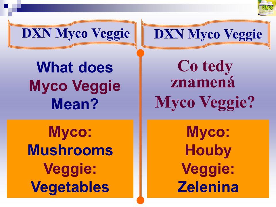 What does Myco Veggie Mean? DXN Myco Veggie Co tedy znamená Myco Veggie? Myco: Mushrooms Veggie: Vegetables Myco: Houby Veggie: Zelenina