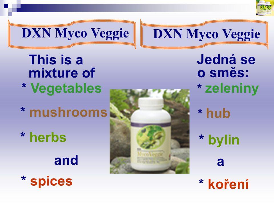 * mushrooms DXN Myco Veggie Jedná se o směs: This is a mixture of * Vegetables * herbs and * spices * koření * hub a * zeleniny * bylin DXN Myco Veggi
