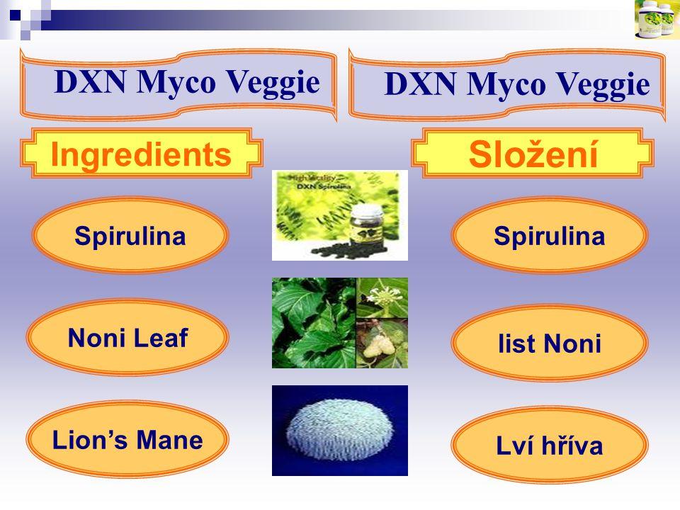 Spirulina Lion's Mane Ingredients Složení Noni Leaf list Noni Lví hříva DXN Myco Veggie