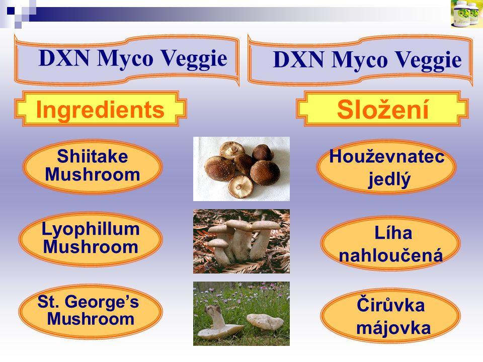 Houževnatec jedlý Shiitake Mushroom St. George's Mushroom Ingredients Složení Lyophillum Mushroom Líha nahloučená Čirůvka májovka DXN Myco Veggie