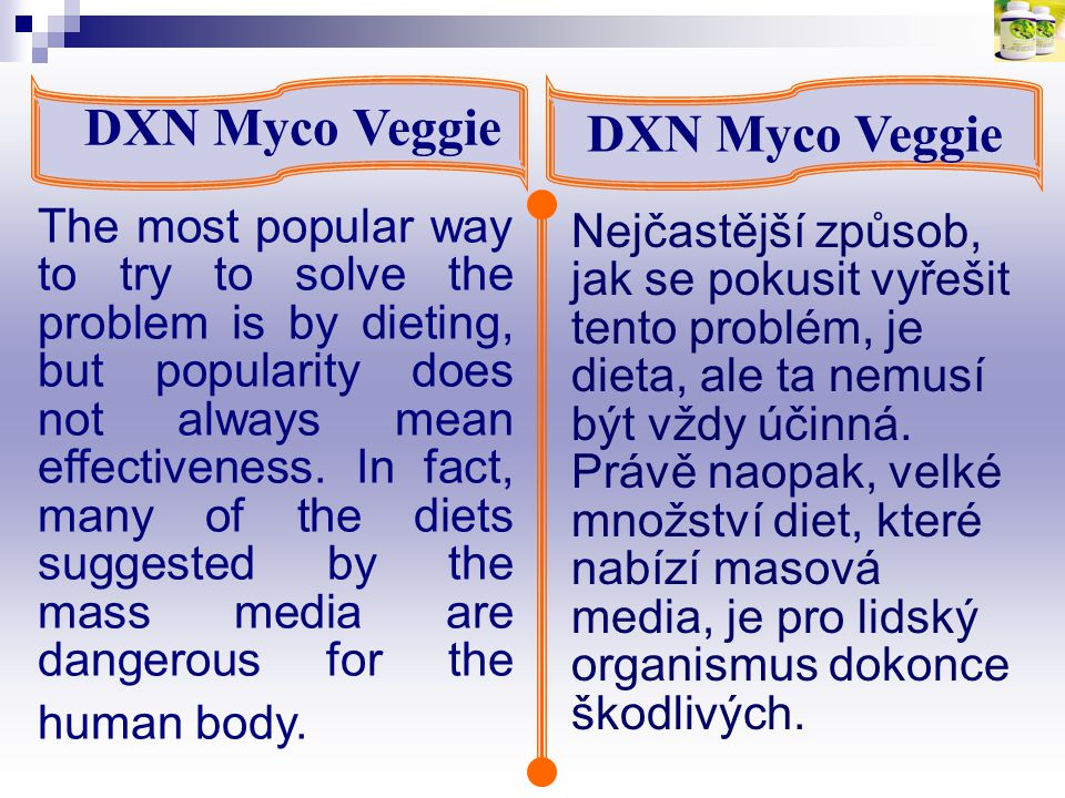 DXN Myco Veggie Therefore, consuming DXN MycoVeggie can increase your energy level and benefit your health in the long-run.