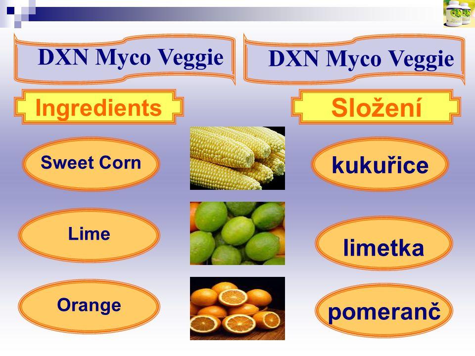 kukuřice Sweet Corn Orange Ingredients Složení Lime limetka pomeranč DXN Myco Veggie