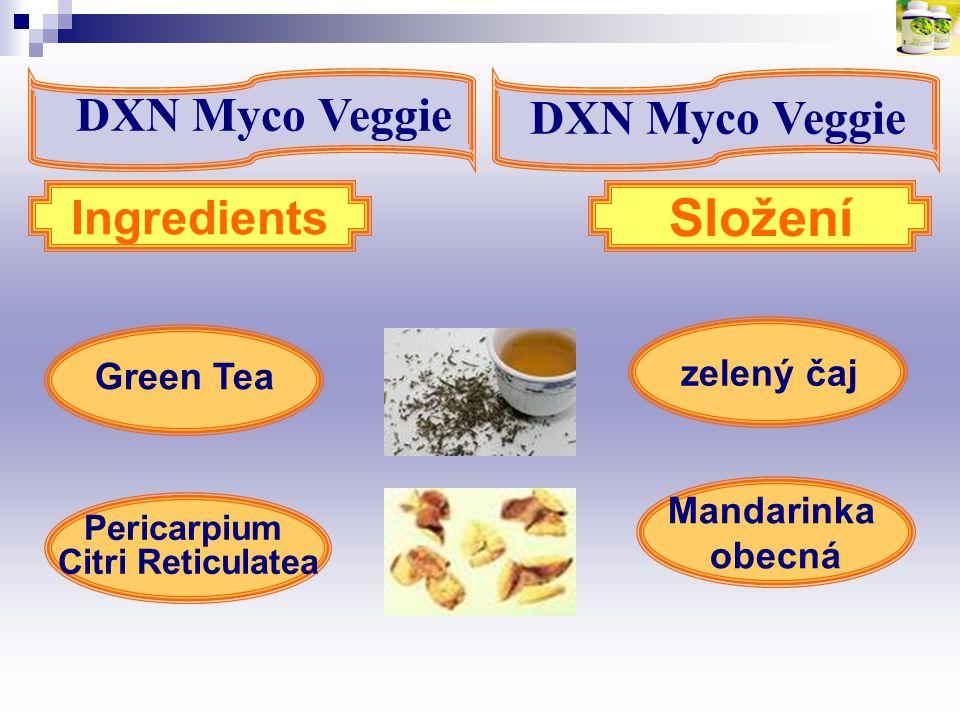 zelený čaj Green Tea Ingredients Složení Pericarpium Citri Reticulatea Mandarinka obecná DXN Myco Veggie