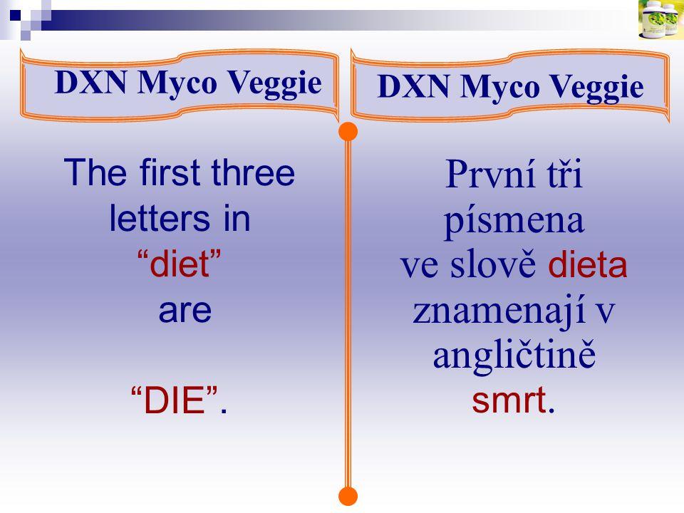 """DXN Myco Veggie První tři písmena ve slově dieta znamenají v angličtině smrt. The first three letters in """"diet"""" are """"DIE""""."""