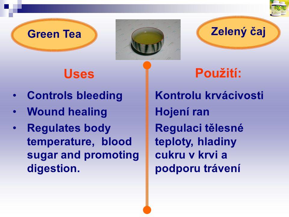 Použití: Uses Controls bleeding Wound healing Regulates body temperature, blood sugar and promoting digestion. Kontrolu krvácivosti Hojení ran Regulac