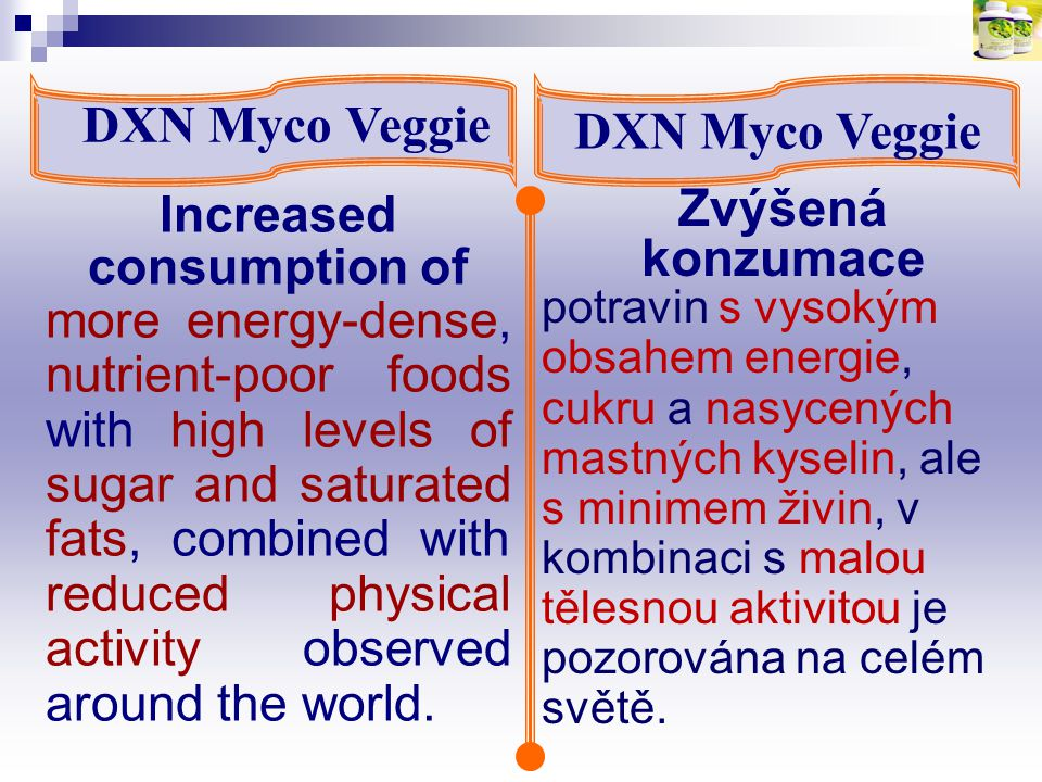 DXN Myco Veggie Pokyny pro stravu: Guidelines for Diet: Lunch (300 – 400 kcal) - ½ small bowl of rice + Steamed/boiled egg + A plate of raw/steamed vegetables + 1 piece fish + 1 piece lean chicken + Sugar-free drink (e.g.