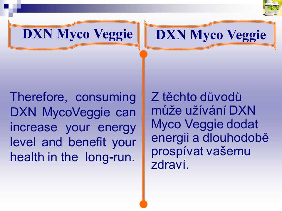 DXN Myco Veggie Therefore, consuming DXN MycoVeggie can increase your energy level and benefit your health in the long-run. Z těchto důvodů může užívá